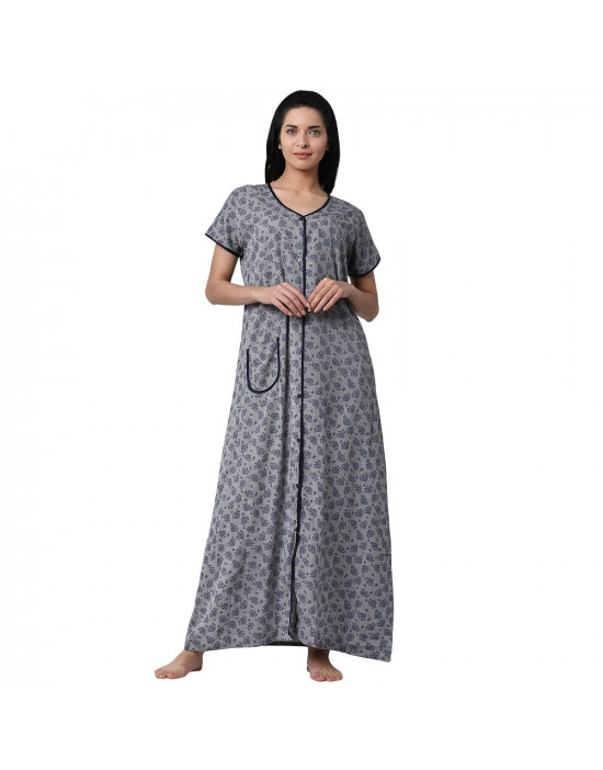 Minelli Women's Cotton Fabric Front Button Open Night Gown Grey