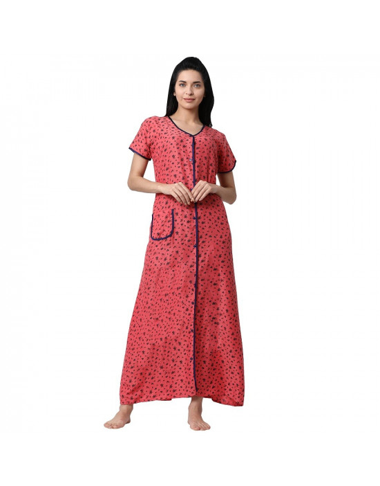Minelli Women's Cotton Fabric Front Button Open Night Gown Orange