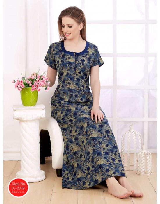 Minelli Women's Cotton Fabric Round Neck Night Wear