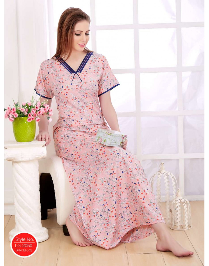 08cc9017b2 Minelli V-Neck Cotton Long Length Nightdress - Goldstroms