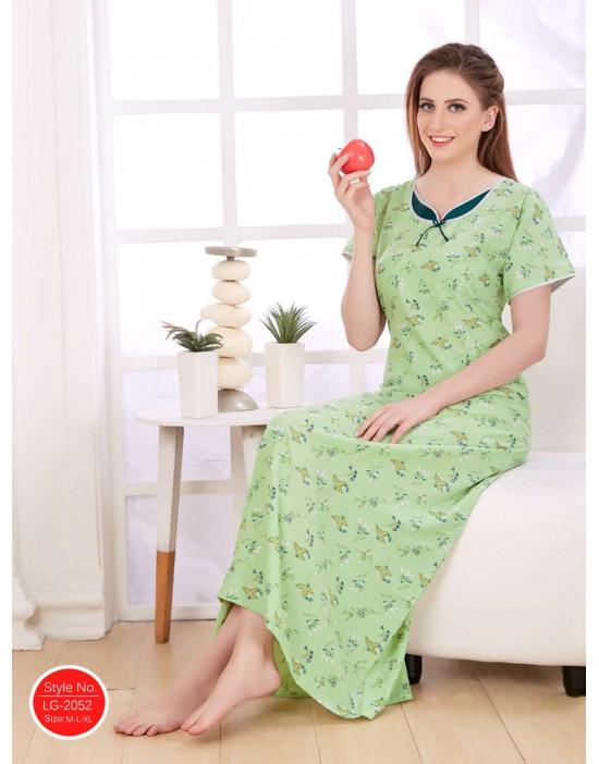 Minelli Women's Cotton Fabric Sweetheart Neck Night Wear