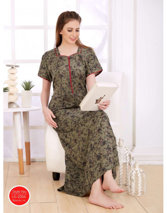 Minelli Women's Cotton Fabric Square Neck Night Wear