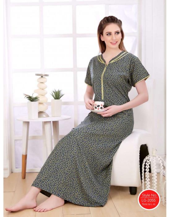 Minelli Women's Cotton Fabric V-Neck Night Wear