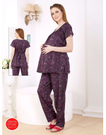 Women's Cotton Fabric Maternity/Feeding/Nursing Top and Pyjama Set Loungewear