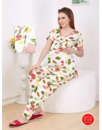 Women's Cotton Fabric Maternity/Feeding/Nursing Top and Pyjama Set Loungewear