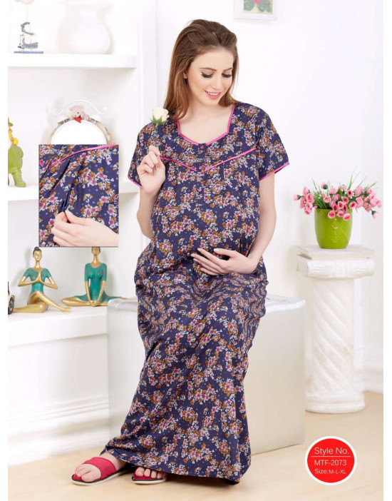 Women's Cotton Fabric Maternity/Feeding/Nursing Long Gown