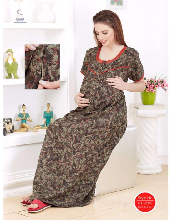 Women's Cotton Fabric Maternity/Feeding/Nursing Long Gown