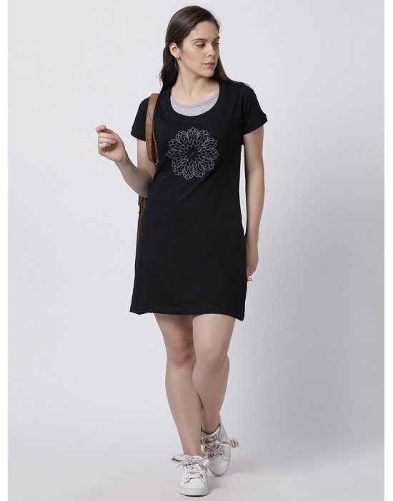 Women's Yoga/Sports/Casual Round Neck Super Long Tee Black