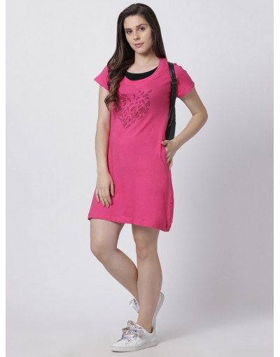 Women's Yoga/Sports/Casual Round Neck Super Long Tee Fuchsia
