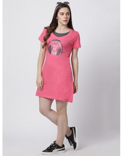 Women's Activewear Super Long Printed T-Shirt Peach