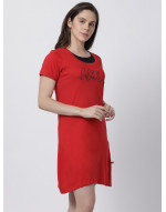 Women's Yoga/Sports/Casual Round Neck Super Long Tee Red