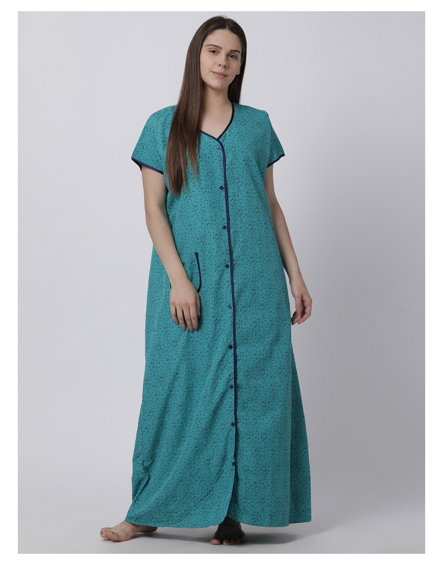 Minelli Women's Cotton Fabric Front Button Open Night Gown Green