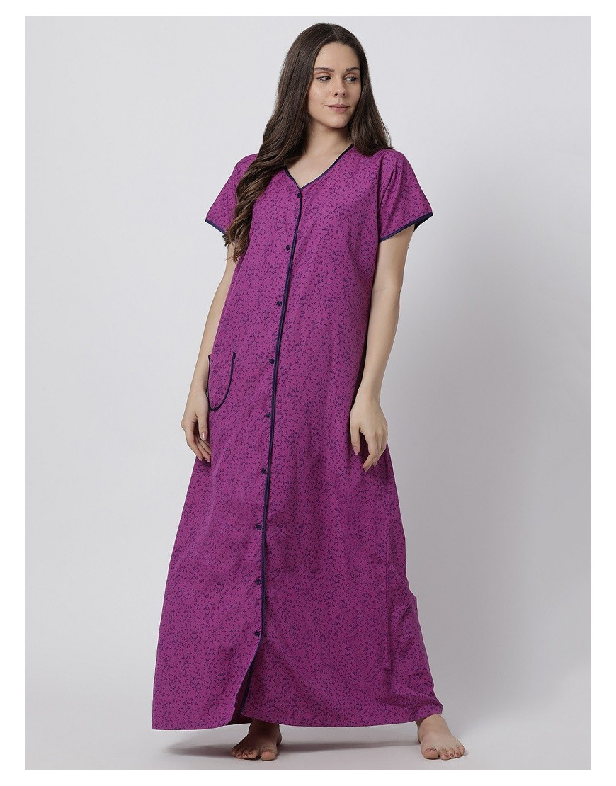 Minelli Women's Cotton Fabric Front Button Open Night Gown Purple