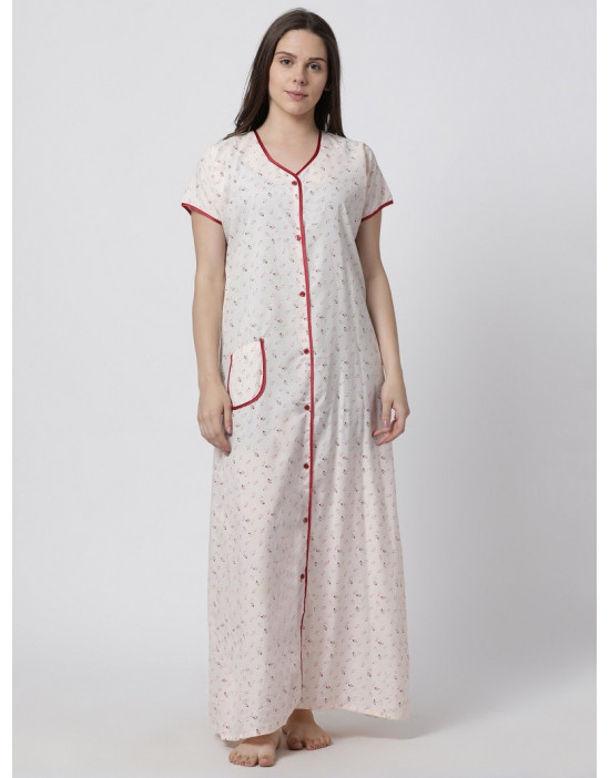 Minelli Women's Cotton Fabric Front Button Open Night Gown Pink