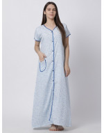 Minelli Women's Cotton Fabric Front Button Open Night Gown Blue