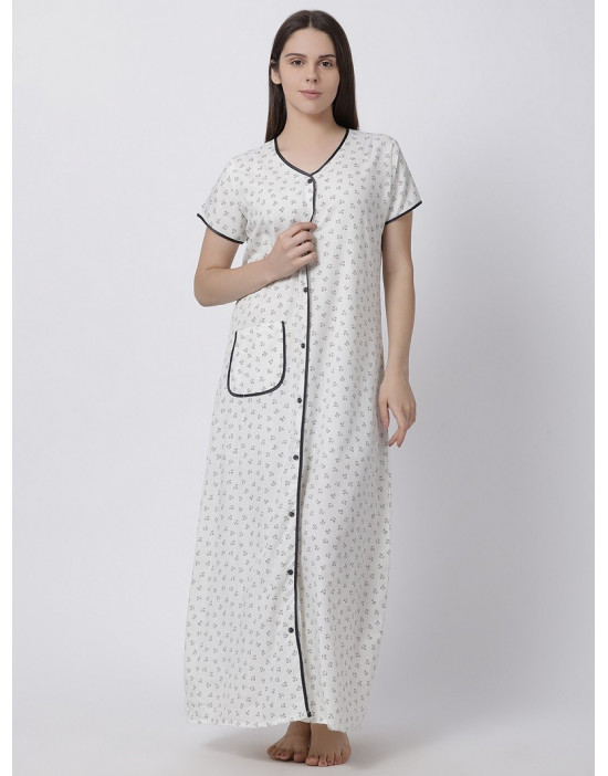 Minelli Women's Cotton Fabric Front Button Open Night Gown White