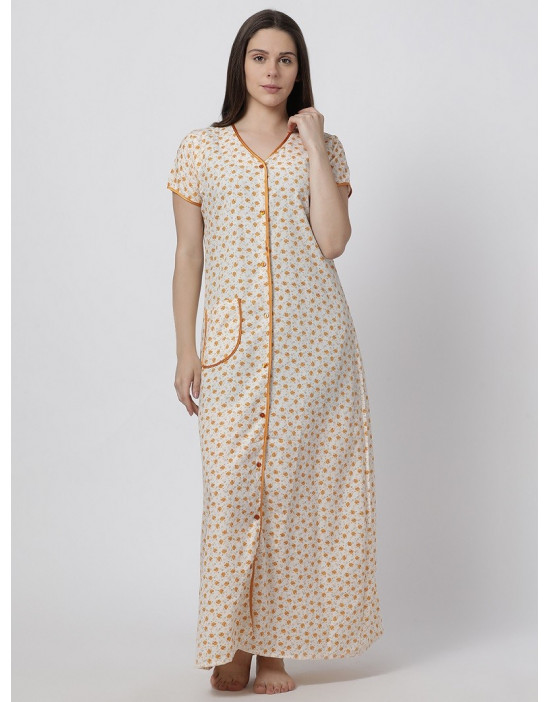 Minelli Women's Cotton Fabric Front Button Open Night Gown Yellow
