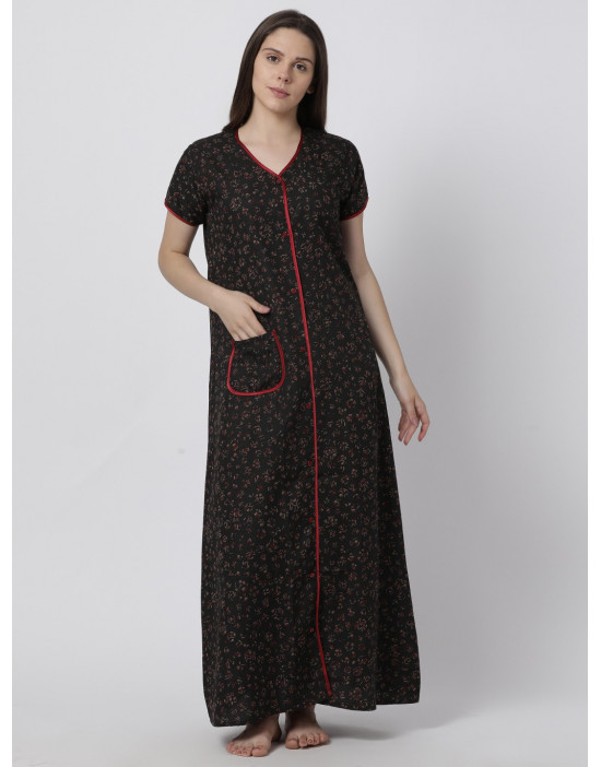 Minelli Women's Cotton Fabric Front Button Open Night Gown Red