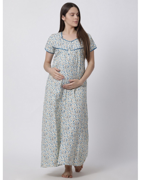 Minelli Women's Cotton Fabric Maternity Gown with Feeding Access Blue