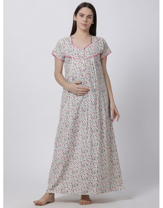 Minelli Women's Cotton Fabric Maternity Gown with Feeding Access Pink