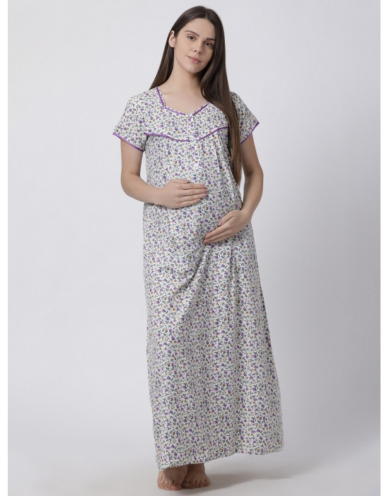 Minelli Women's Cotton Fabric Maternity Gown with Feeding Access Purple