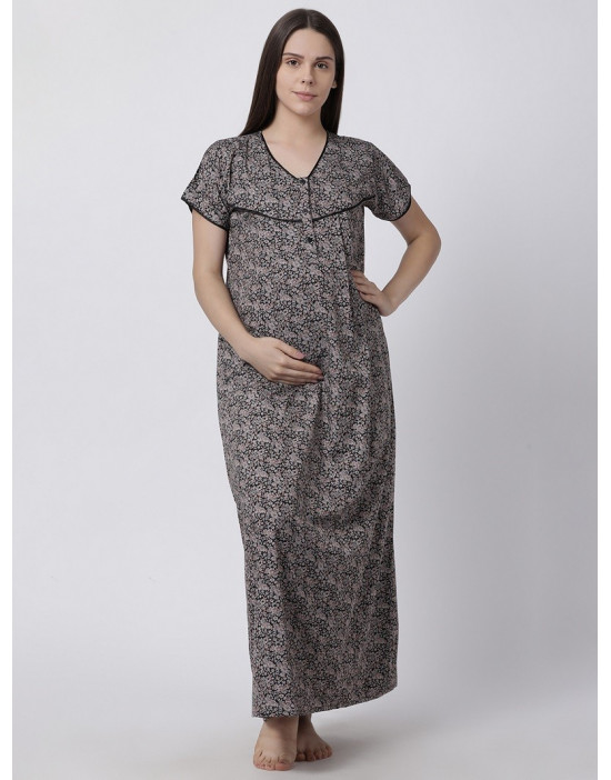 Minelli Women's Cotton Fabric Maternity Gown with Feeding Access Black