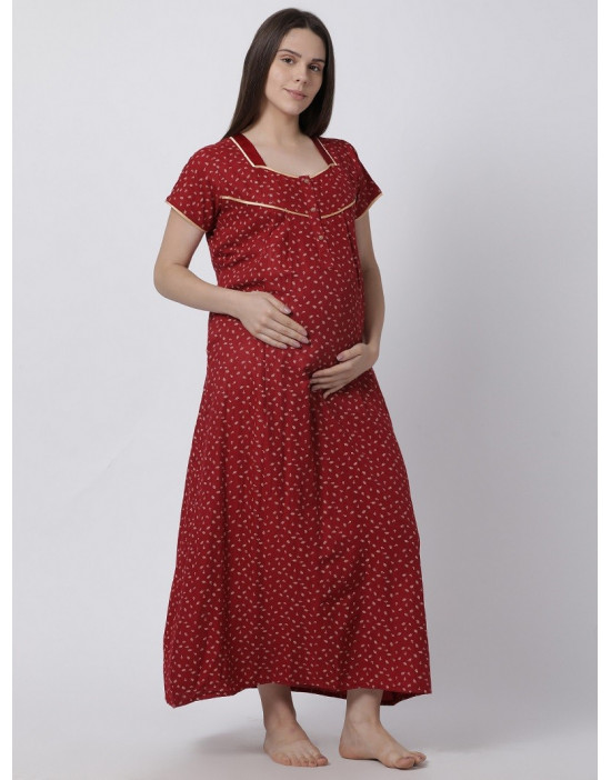 Minelli Women's Cotton Fabric Maternity Gown with Feeding Access Red