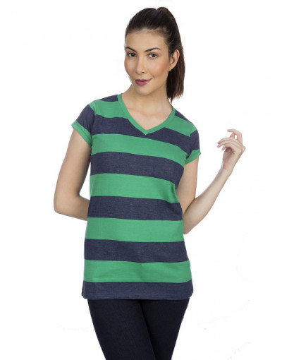 Women's V-neck Big Stripes Short Sleeve T-Shirt