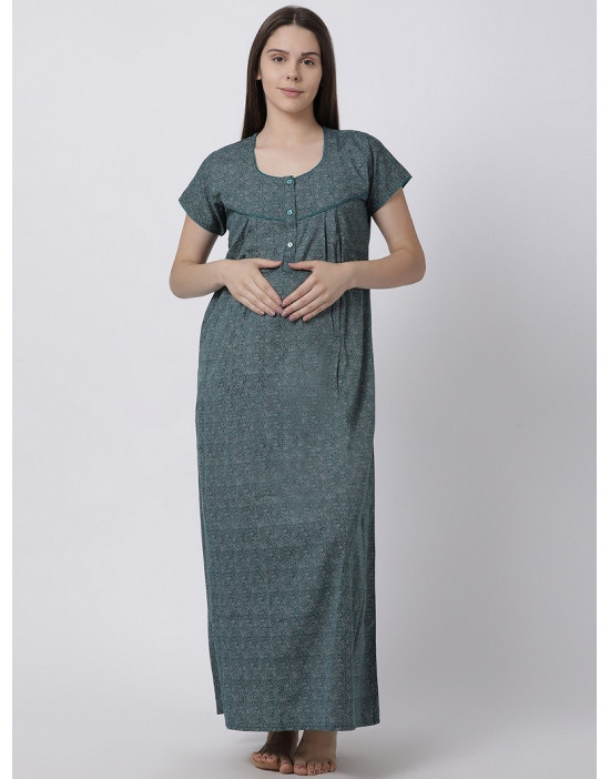Minelli Women's Cotton Fabric Maternity Gown with Feeding Access Green
