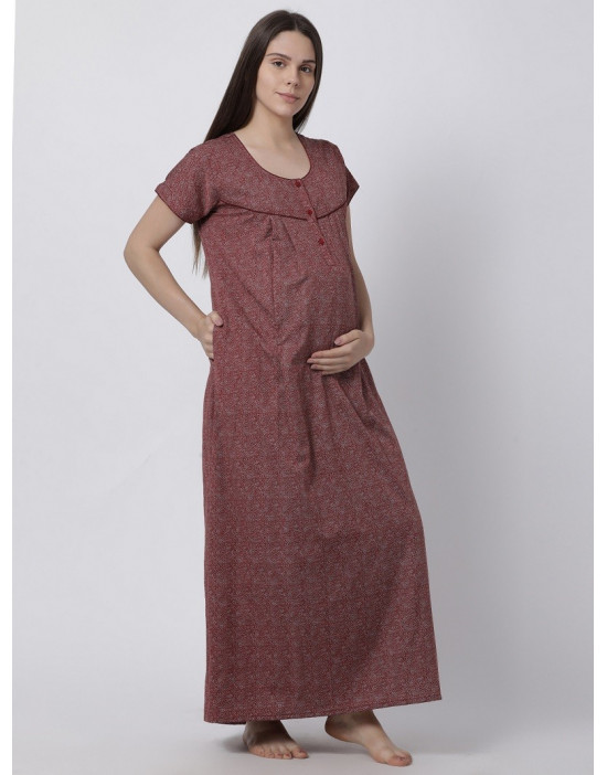 Minelli Women's Cotton Fabric Maternity Gown with Feeding Access Maroon