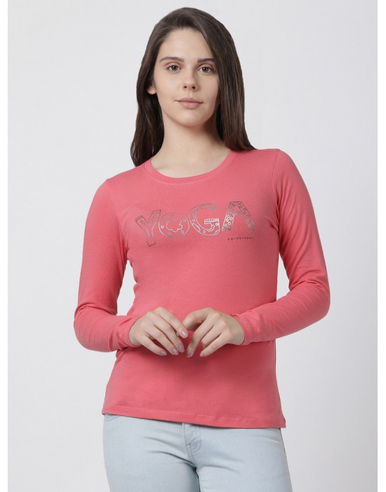 Womens Round Neck Full Sleeve Yoga/Sports/Casual Tee Peach