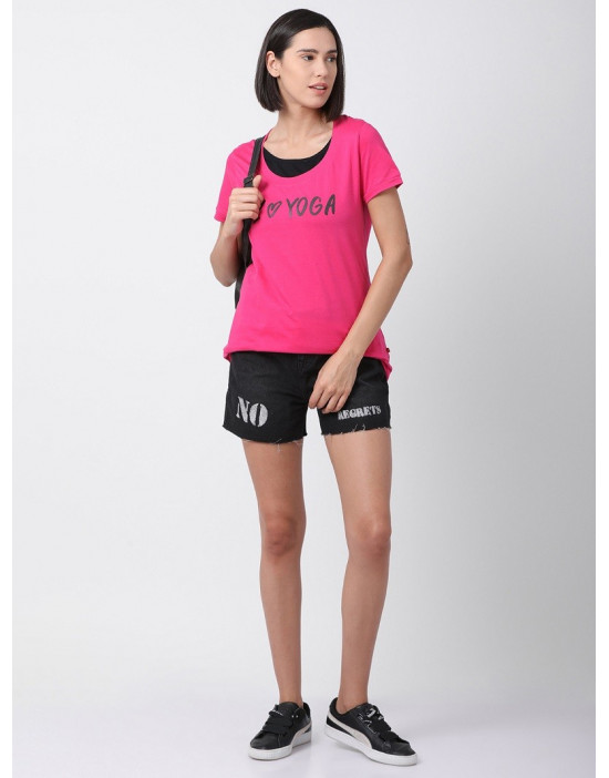 Women Sports Yoga Casual Magenta Long Printed Top