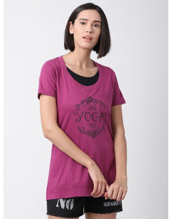 Women Sports Yoga Casual Magenta Long Printed Top