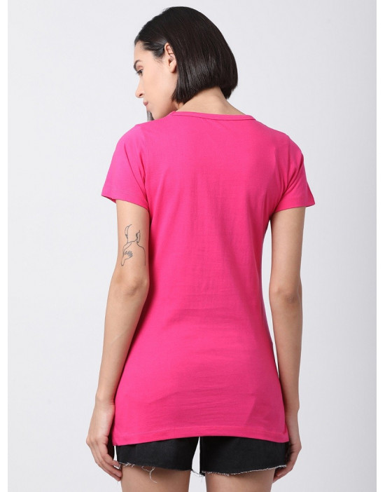 Women Round Neck Sports Yoga Casual Fuchsia Long Printed Top