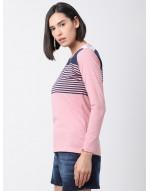 Women Sports Yoga Casual Pink & Navy Long Striped Top