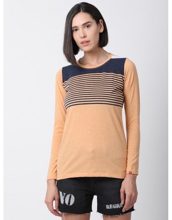 Women Sports Yoga Casual Orange & Navy Long Striped Top