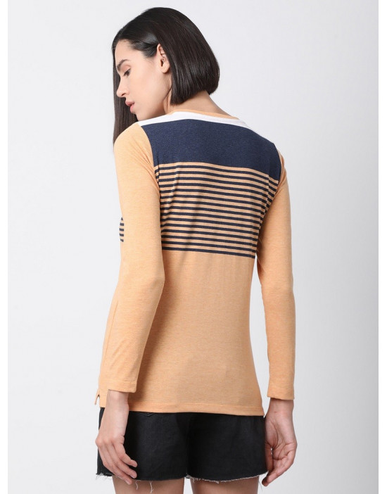 Women Sports Yoga Casual Orange & Navy Long Striped Top