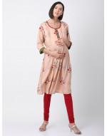 Women Round Neck Printed Pre and Post Maternity kurti
