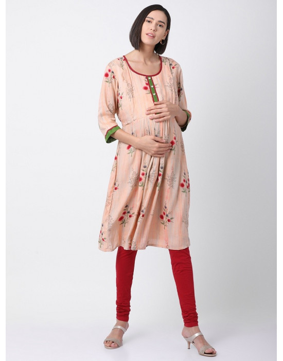 Women Round Neck Printed Pre and Post Maternity kurti