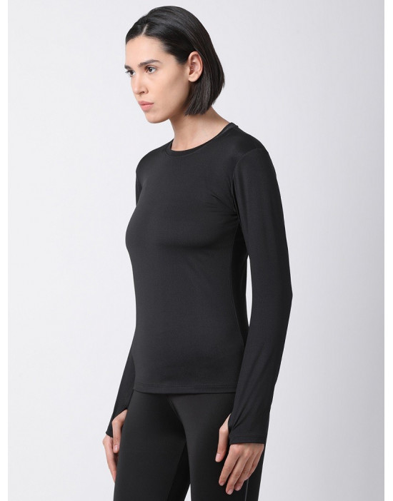 Women Sports Full Sleeve Solid Black Dri Fit Top