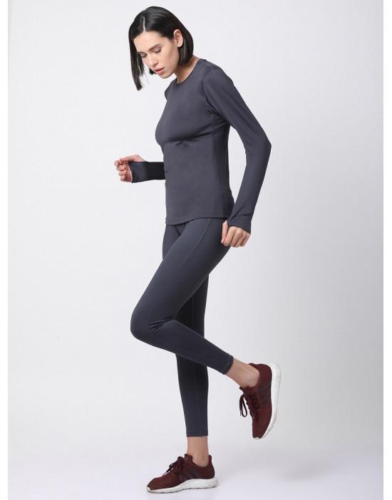 Women Sports Full Sleeve Solid Grey Dri Fit Top