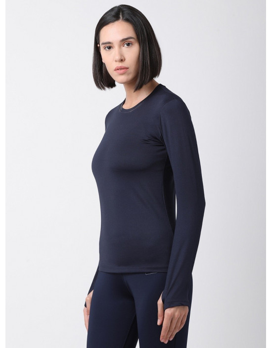 Women Sports Full Sleeve Solid Navy Blue Dri Fit Top