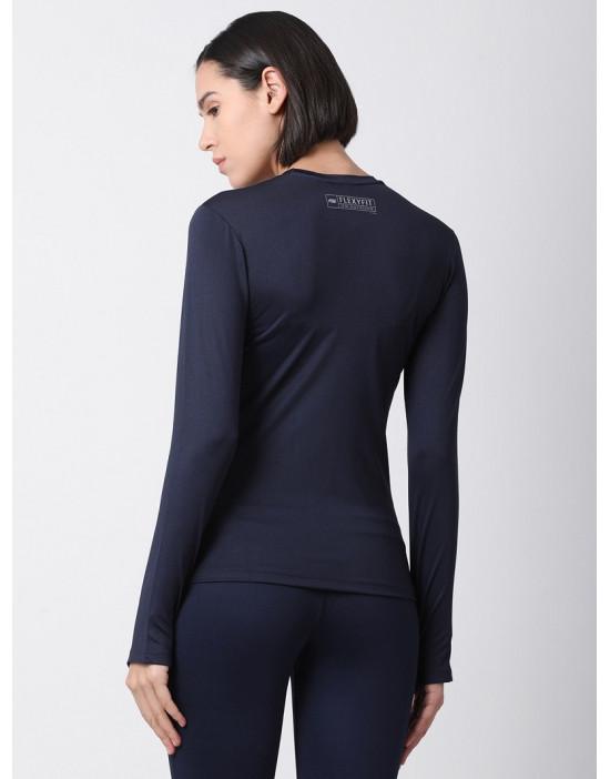 Women Sports Full Sleeve Solid Navy Blue Dri Fit Top