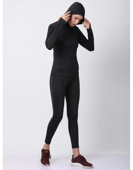 Women Sports Full Sleeve Solid Black Dri Fit Hoodie Top