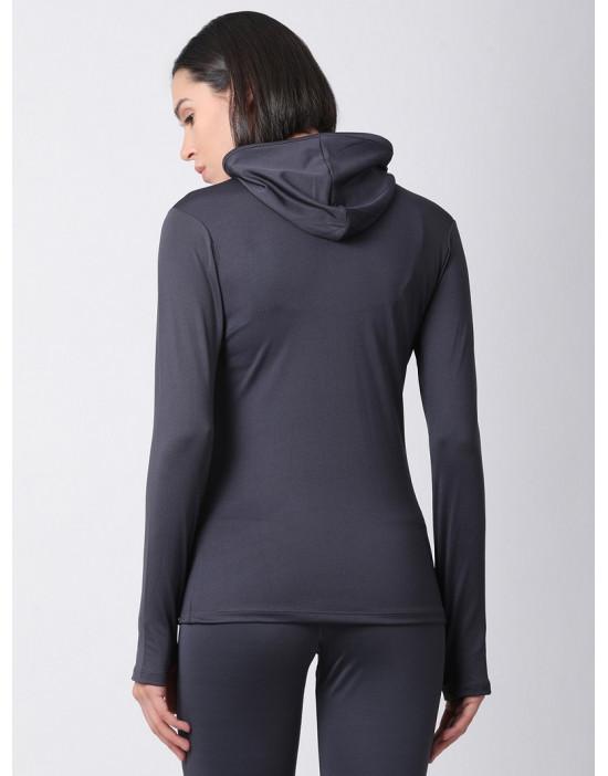 Women Sports Full Sleeve Solid Grey Dri Fit Hoodie Top