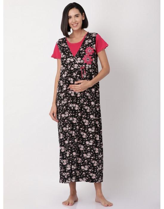 Minelli Women Hosiery Fabric Maternity/Nursing/Feeding Long Gown