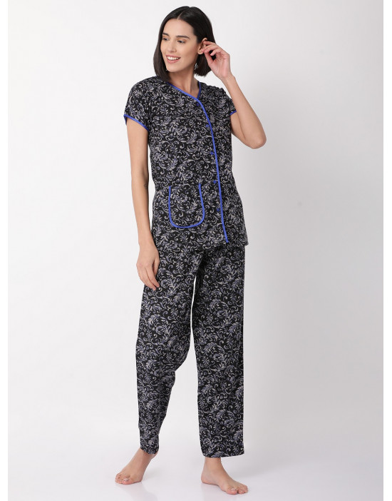 Minelli Women's Cotton Fabric Front Button Open Night Dress