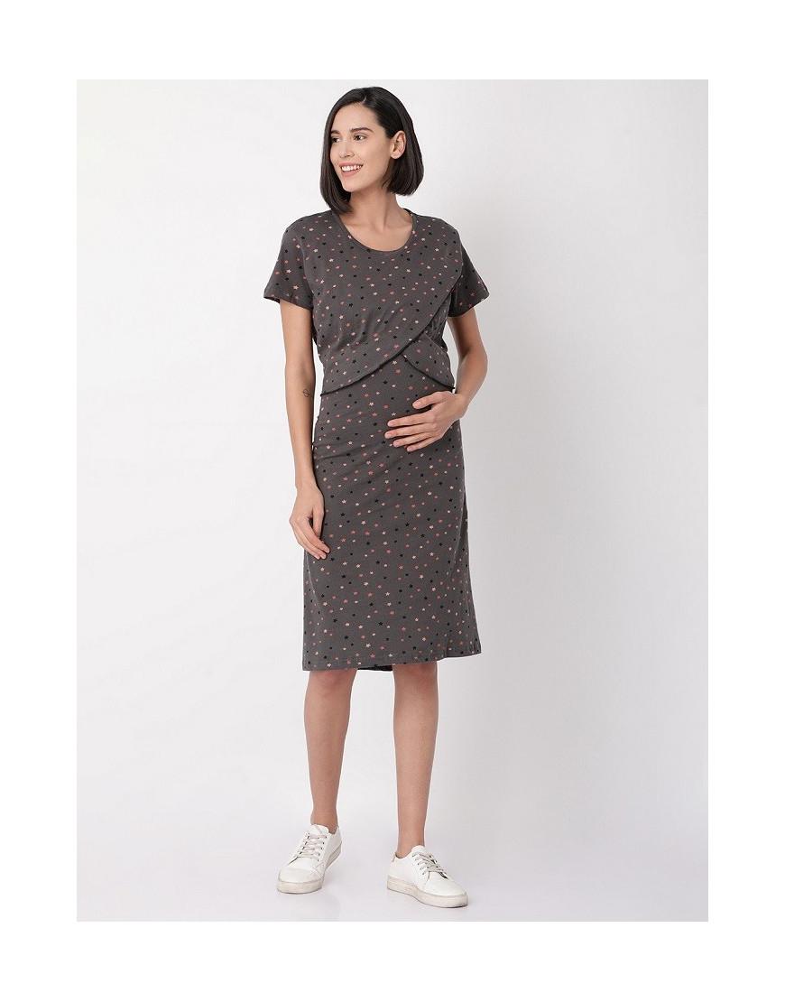 35d2f3646c Minelli Womens Round Neck Feeding/Maternity/Nursing Night Gown ...