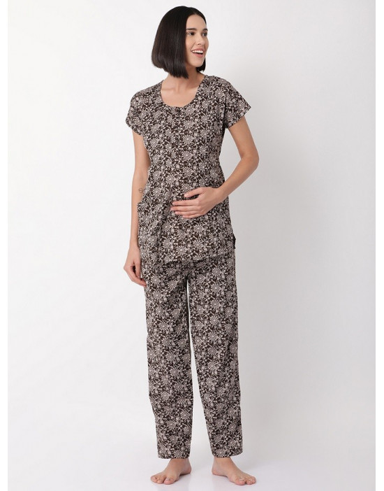 Minelli Womens Round Neck Feeding/Maternity/Nursing Night Suit