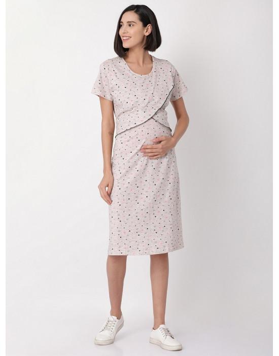 Minelli Womens Round Neck Feeding/Maternity/Nursing Night Gown